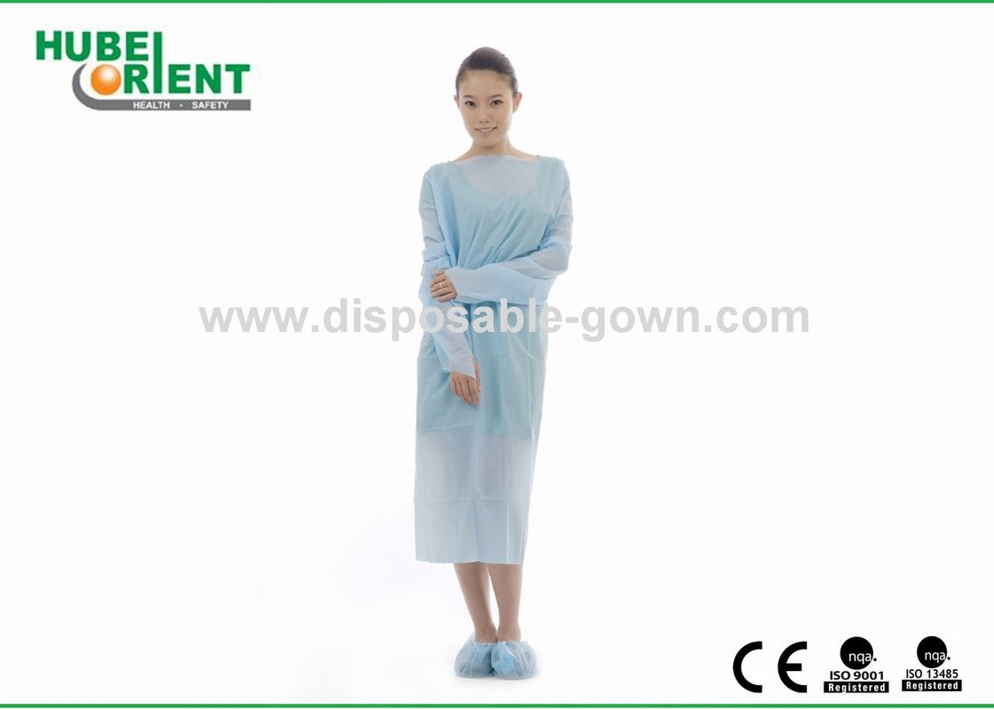 Single Use Polythene Material Protective Clothing With Thumb Cuffs Long Sleeves CPE Gown For Cleanroom